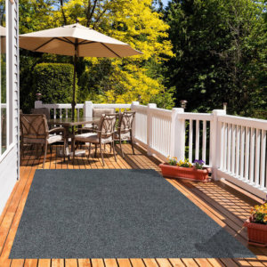 Black & Grey Economical Artificial Grass Turf Area Rug - great accessories for Decks