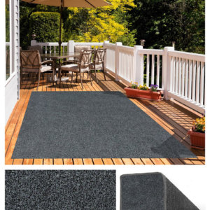 Black & Grey Economical Artificial Grass Turf Area Rug