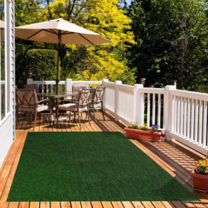 Green Black Economical Grass Turf | Indoor-Outdoor Area Rug Carpet - great accessories for Decks