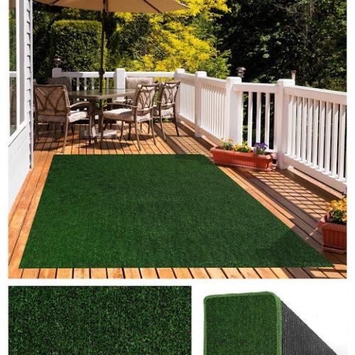 Green Black Economical Grass Turf | Indoor-Outdoor Area Rug Carpet