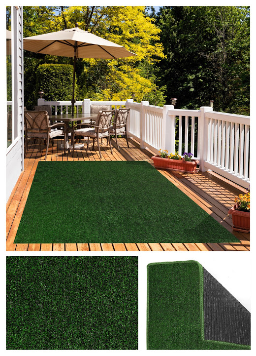Green Black Economical Grass Turf | Indoor-Outdoor Area Rug Carpet