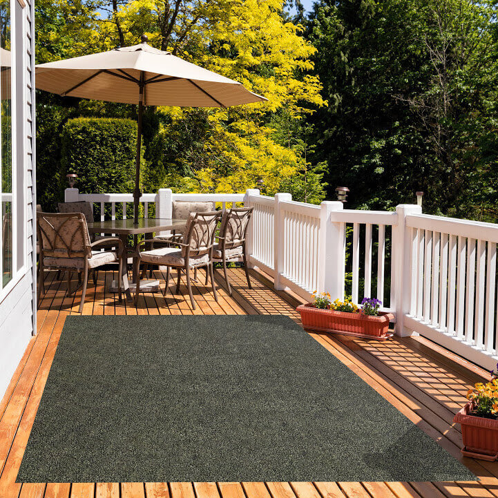 Black & Taupe Economical Artificial Grass Turf Area Rug - great accessories for Decks