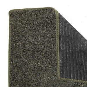 Black & Taupe Economical Artificial Grass Turf Area Rug - Durable Backing