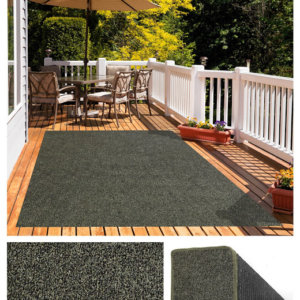 Black & Taupe Economical Artificial Grass Turf Area Rug