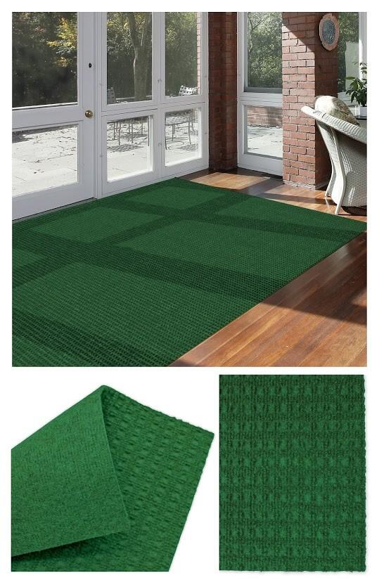 Interlace Heather Green Indoor - Outdoor Unbound Area Rugs