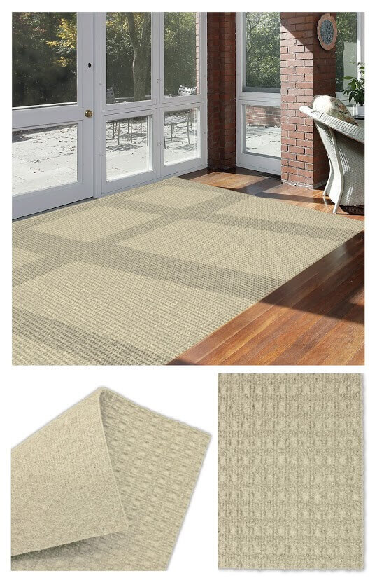Interlace Ivory Indoor - Outdoor Unbound Area Rugs Room